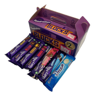 Cadbury Fundraiser BLOCKS BOX 36 Chocolates Carry Pack