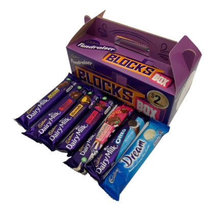 Cadbury Fundraiser BLOCKS BOX 36 Chocolates Carry Pack